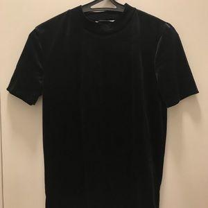 Zara Black Velvet Mock Neck T Shirt